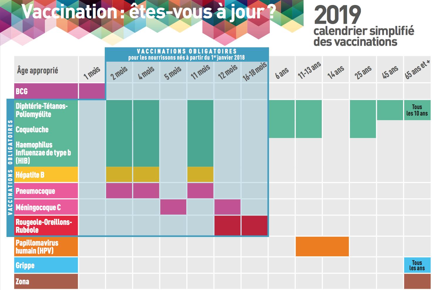 Vaccination Calendrier 2019.Le Calendrier Des Vaccinations 2019 Pediatre Online